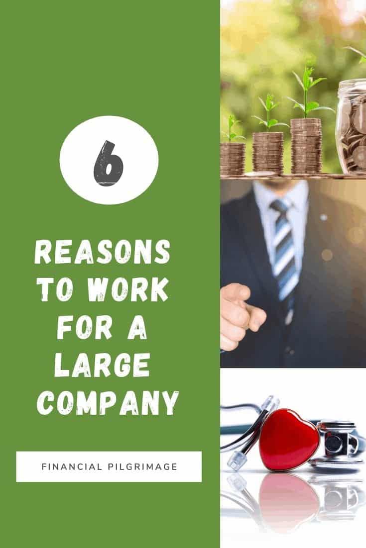Several images showing the benefits of working for a large organization.