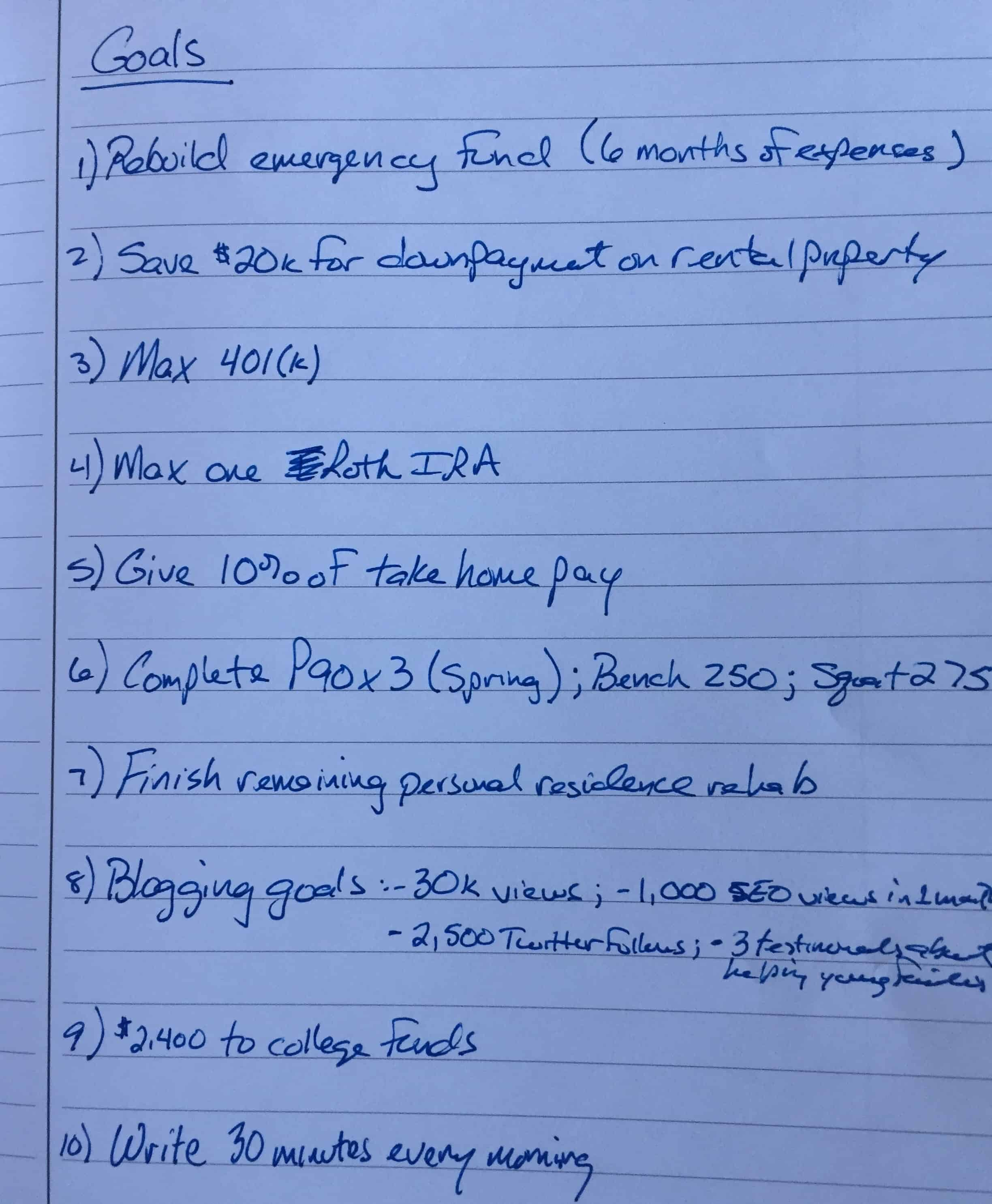 Photo of handwritten personal goals for 2019