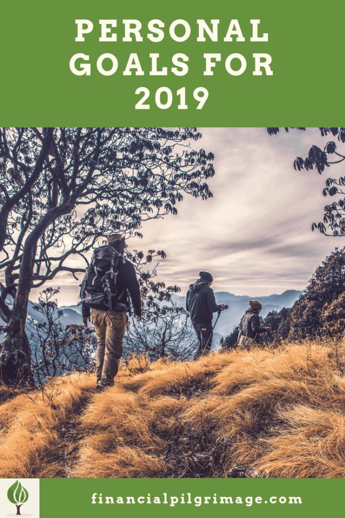 Pinterest image of three people hiking on their pilgrimage